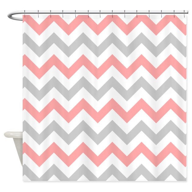 Coral And Grey Chevron Shower Curtain By Admin CP49789583