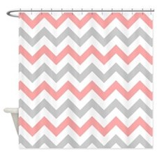 Coral and Grey Chevron Shower Curtain