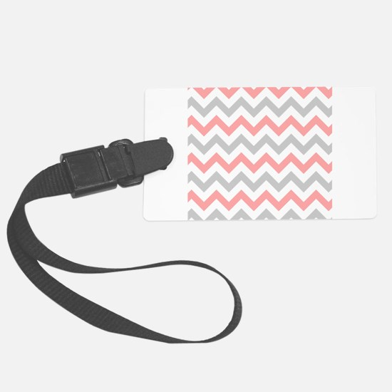 Coral and Grey Chevron Luggage Tag