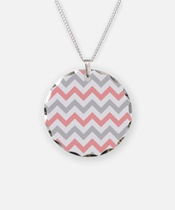 Coral and Grey Chevron Necklace
