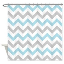 Blue and Grey Chevron Shower Curtain