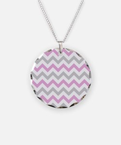 Pink and Grey Chevron Necklace