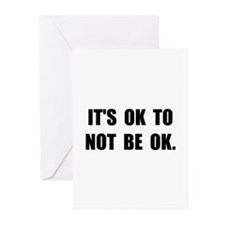 Ok Not Ok Black Greeting Cards