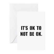 Ok Not Ok Black Greeting Cards