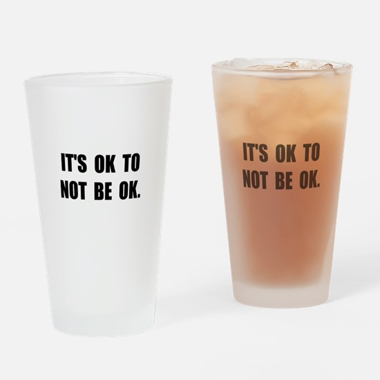 Ok Not Ok Black Drinking Glass