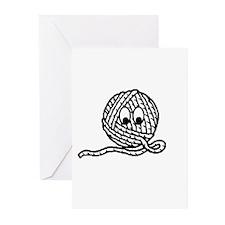 Yarn Ball Cartoon Greeting Cards (Pk of 10)