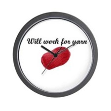 Will Work For Yarn Wall Clock