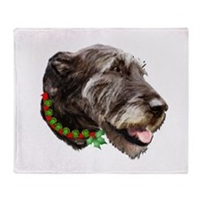 Irish Wolfhound Christmas Throw Blanket
