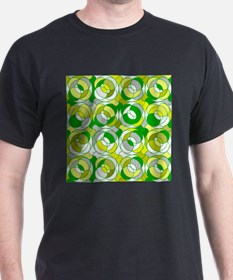 the 70s green round pattern T-Shirt