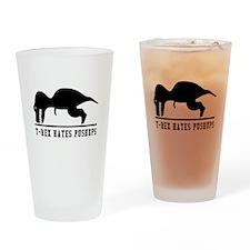 T Rex Hates Pushups Drinking Glass