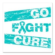 """PCOS Go Fight Cure Square Car Magnet 3"""" x 3"""""""