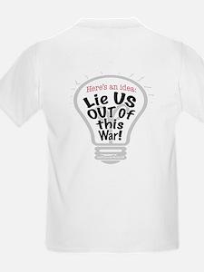Lie US Out of War Kids T-Shirt