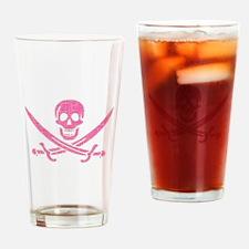 Pink Crosshatch Calico Jack Skull Drinking Glass