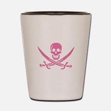 Pink Crosshatch Calico Jack Skull Shot Glass