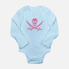Pink Crosshatch Calico Jack Skull Body Suit