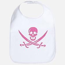 Pink Crosshatch Calico Jack Skull Bib