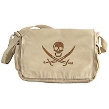 Brown Crosshatch Calico Jack Skull Messenger Bag