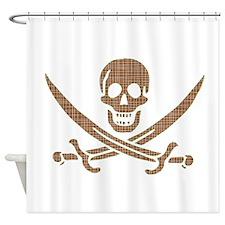 Brown Crosshatch Calico Jack Skull Shower Curtain