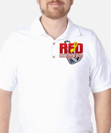 RED: Dog Tags Golf Shirt
