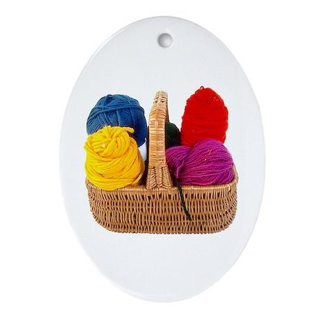 Yarn Basket - Colorful Yarn Oval Ornament