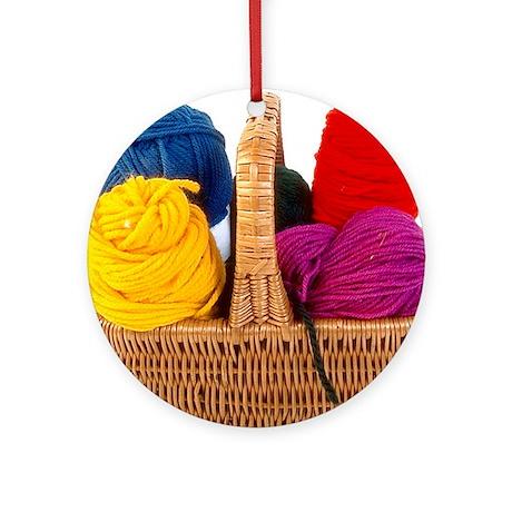 Yarn Basket - Colorful Yarn Ornament (Round)