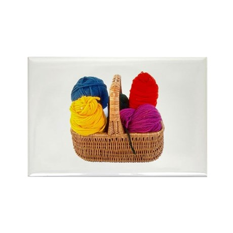 Yarn Basket - Colorful Yarn Rectangle Magnet