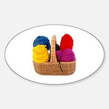 Yarn Basket - Colorful Yarn Oval Decal