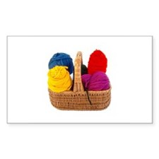 Yarn Basket - Colorful Yarn Rectangle Decal