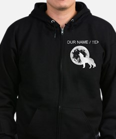 Custom Wolf Howling At Moon Zip Hoodie