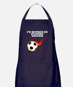 Id Rather Be Playing Soccer Apron (dark)