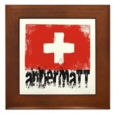 Andermatt Grunge Flag Framed Tile