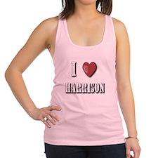 I love Harrison(White) Racerback Tank Top