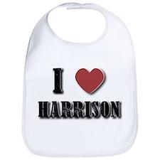 I love Harrison(Black) Bib
