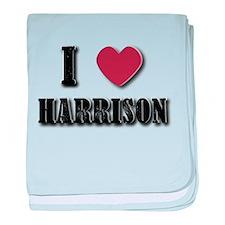 I love Harrison(Black) baby blanket