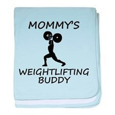 Mommys Weightlifting Buddy baby blanket