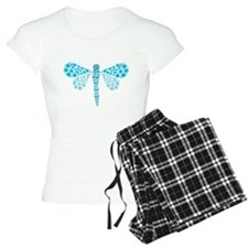 Cute Blue Pointillism Dragonfly Pajamas