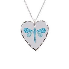 Cute Blue Pointillism Dragonfly Necklace