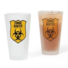 Zombie Hunter Badge Drinking Glass