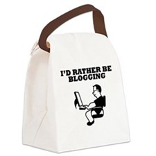 Id Rather Be Blogging Canvas Lunch Bag