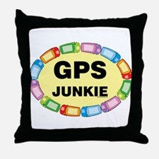GPS Junkie Throw Pillow