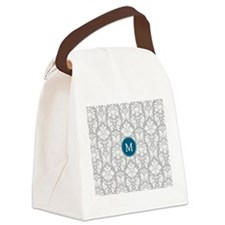 Gray Blue Damask Pattern Canvas Lunch Bag
