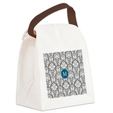 Charcoal Teal Damask Pattern Canvas Lunch Bag