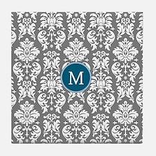 Charcoal Teal Damask Pattern Tile Coaster
