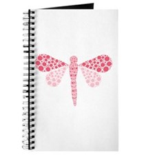 Cute Pink Pointillism Dragonfly Journal