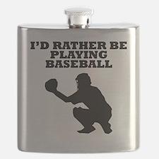 Id Rather Be Playing Baseball Flask