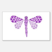 Cute Purple Pointillism Dragonfly Decal