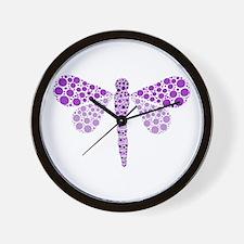 Cute Purple Pointillism Dragonfly Wall Clock