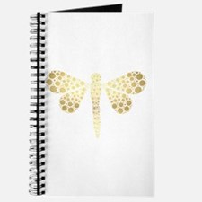 Cute Gold Pointillism Dragonfly Journal