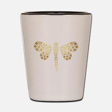 Cute Gold Pointillism Dragonfly Shot Glass