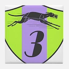 Racing Greyhound Dog Shield Number 3 Tile Coaster